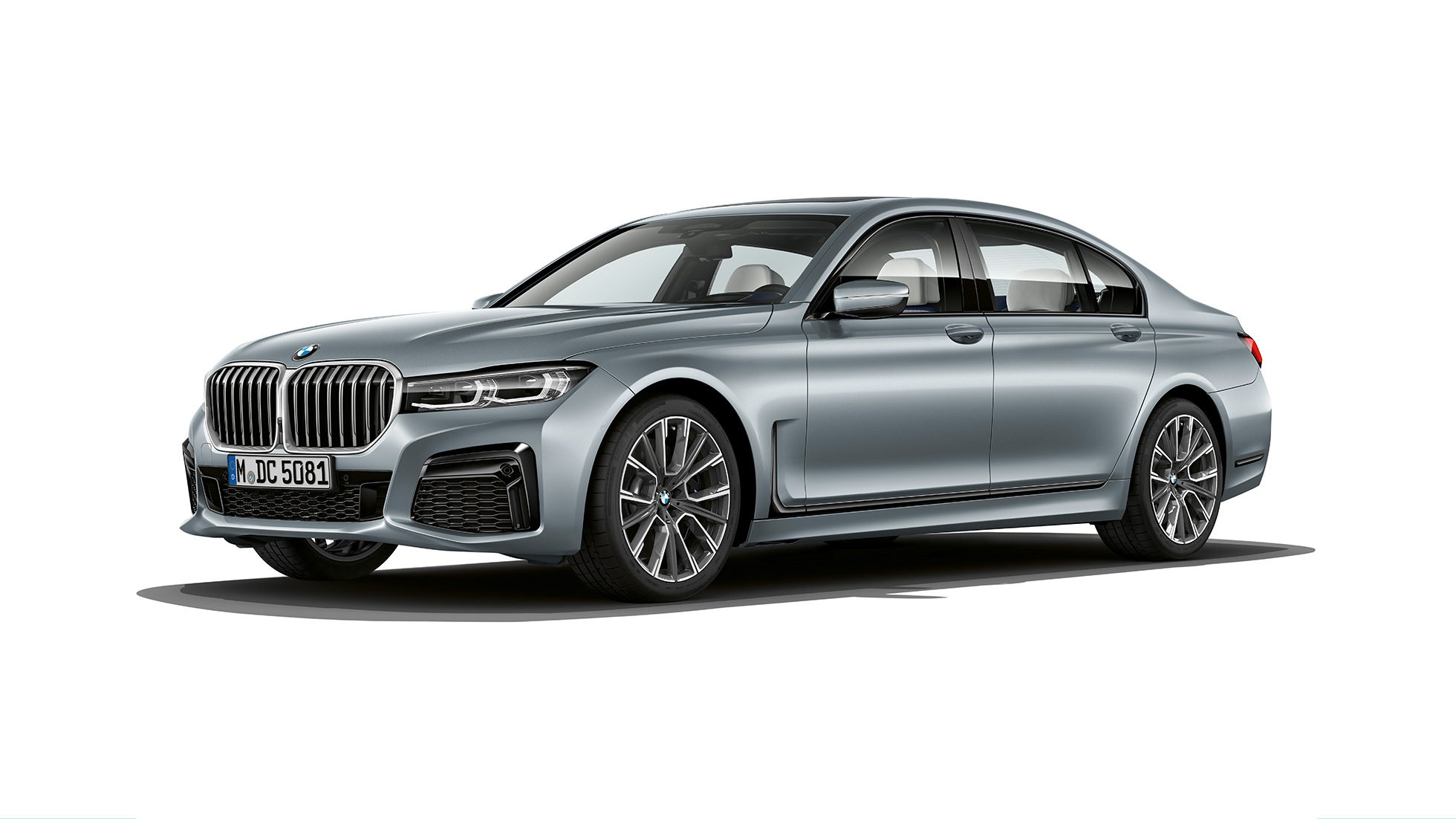 Grey BMW 7 Series Sedan M Sport package in three-quarter front view G11