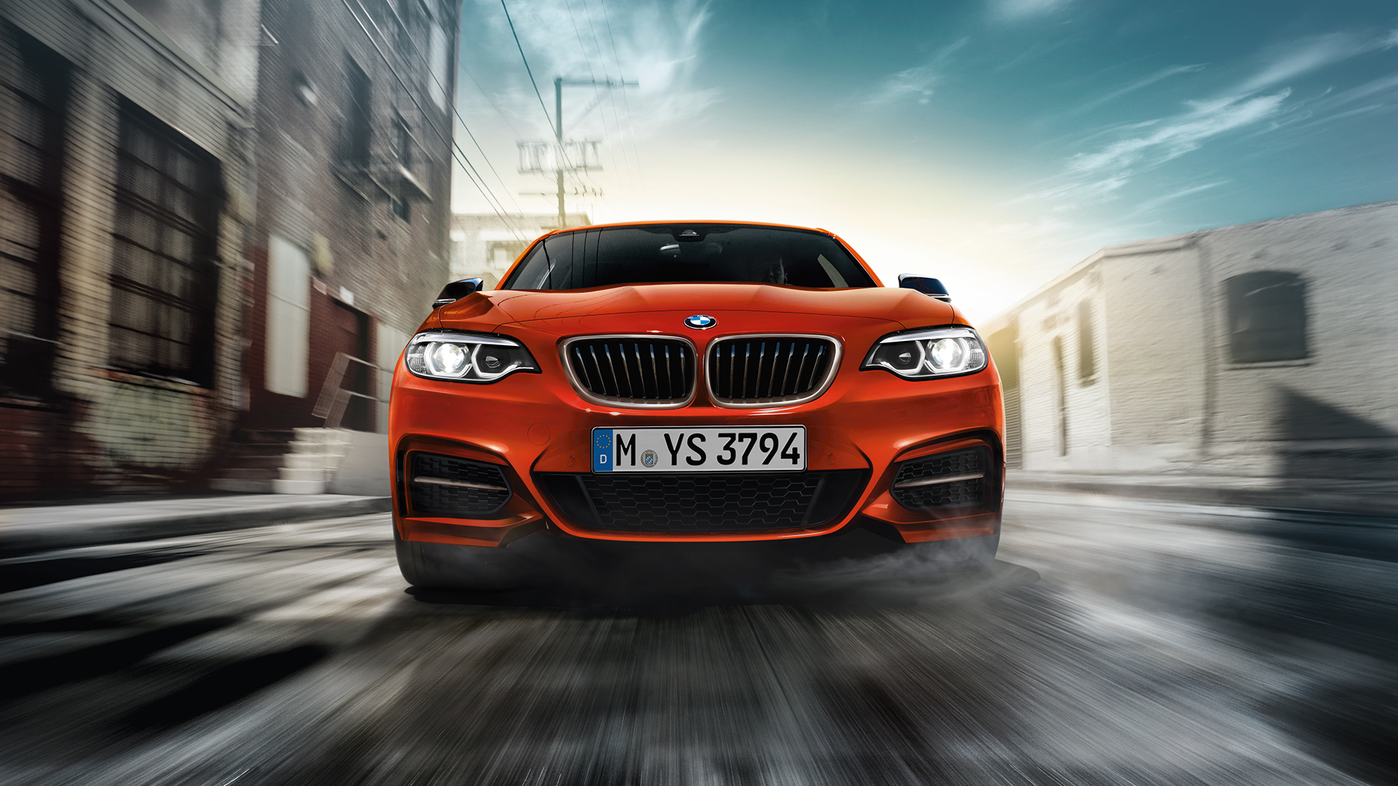 Front design BMW M240i Coupé F22 2017 Sunset Orange metallic front view