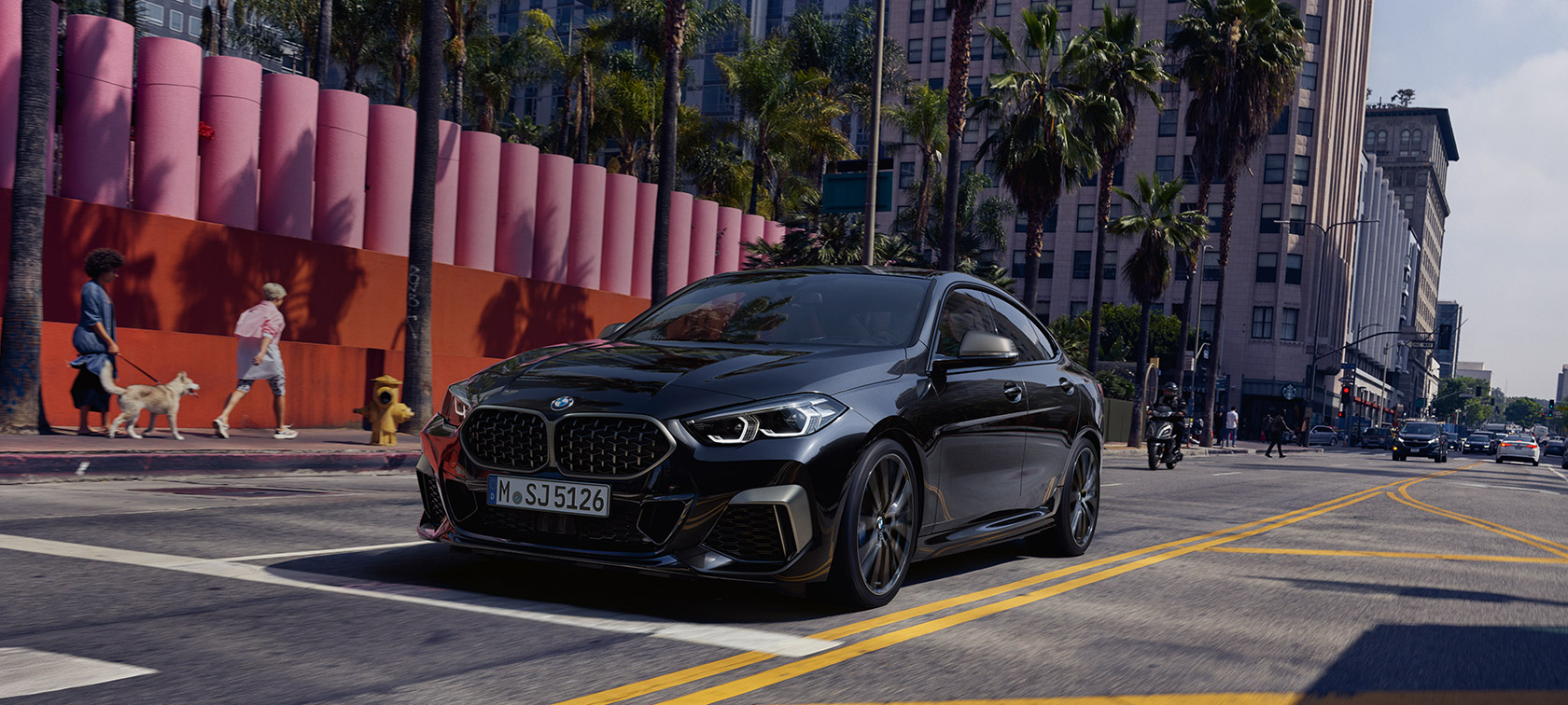 BMW M235i xDrive Gran Coupé 2020 Black Sapphire metallic F44 three-quarter front view