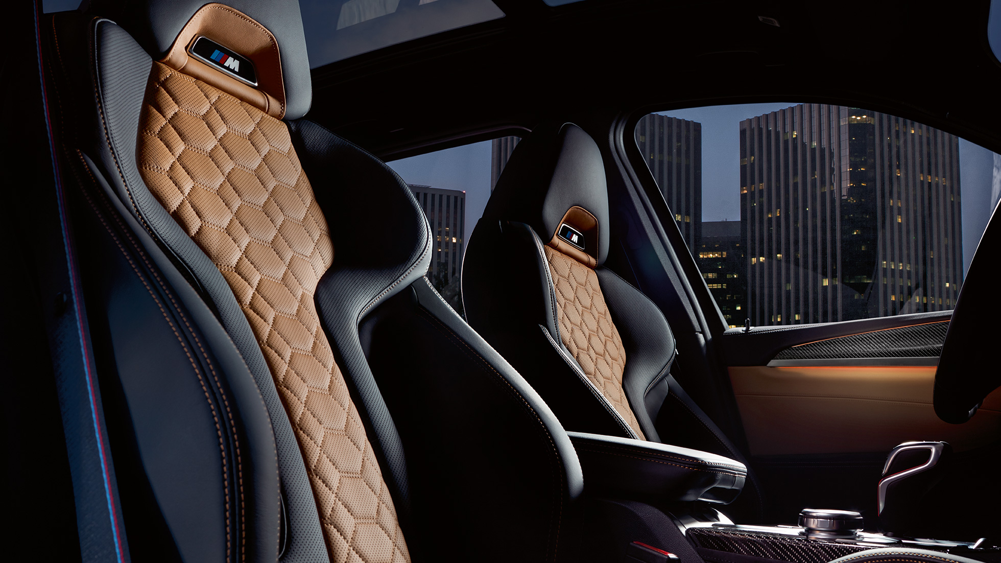 BMW X3 M Competition, interior, M Sport seats in 'Merino' leather with Alcantara. F97